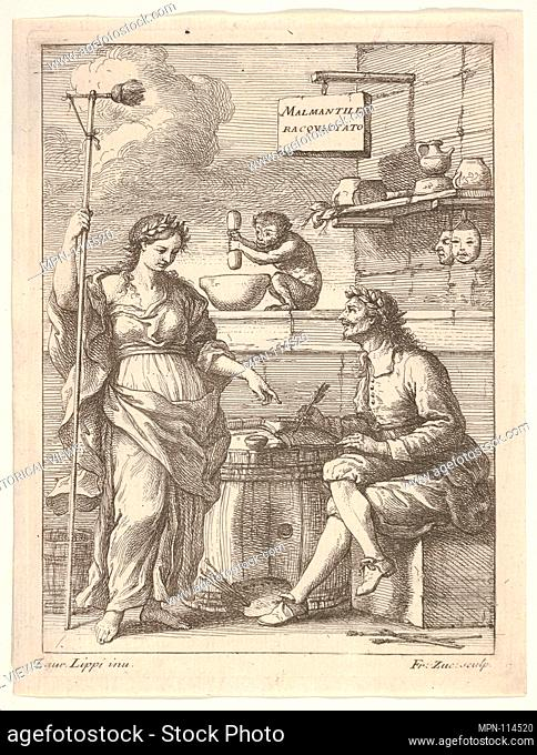 A monkey working a mortar and pestle, below Lorenzo Lippi (?) writing his humorous poem 'Malmantile Racquistato', a muse standing at left