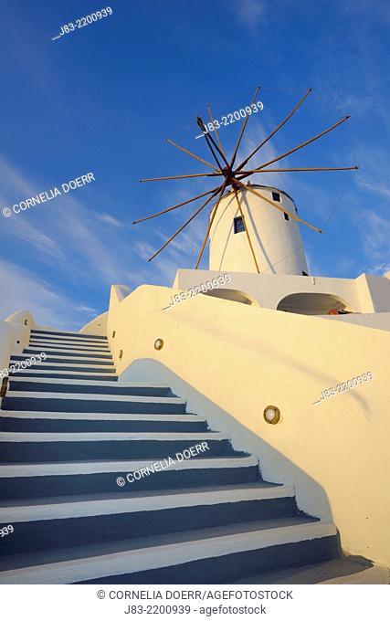 Traditional greek windmill of Santorini, Oia Village, Santorini, Aegean Island, Cyclades Islands, Greek Islands, Greece, Europe