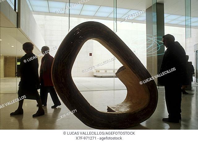Barcelona: Caixaforum, factory of Casarramona by Puig i Cadafalch  Foyer by Arata Isozaki  And sculpture by Richard Dickon