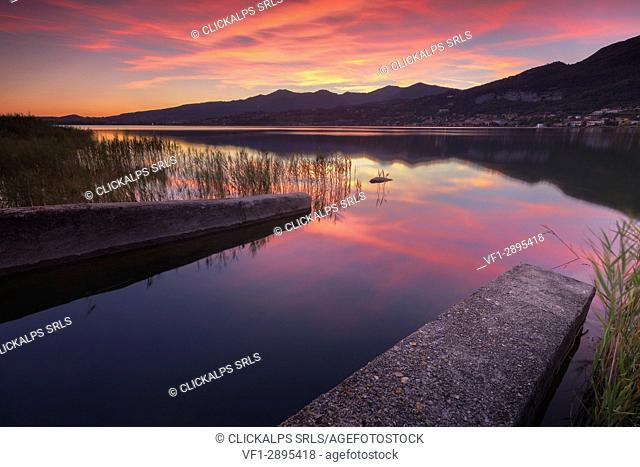 Sunset on Lake Pusiano from Bosisio Parini, Como and Lecco province, Brianza, Lombardy, Italy, Europe