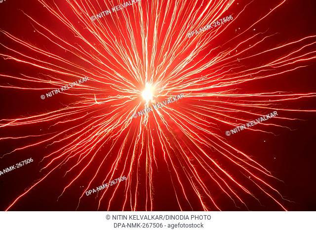 firework in sky, celebrating Gudi Padva Festival, Thane Maharashtra India Asia