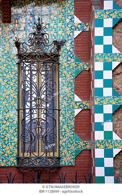 Detail of the Casa Vicens, Unesco World Heritage Site, Antonio Gaudi architect, Gracia District, Barcelona, Catalonia, Spain