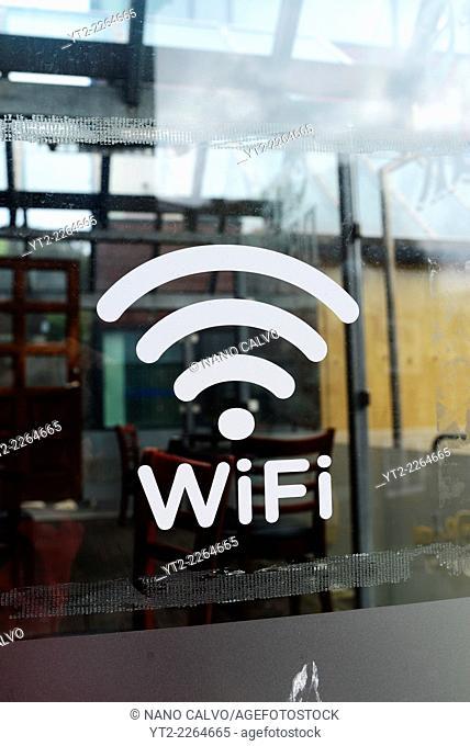 WiFi sign in restaurant window, Tórshavn, The Faroe Islands