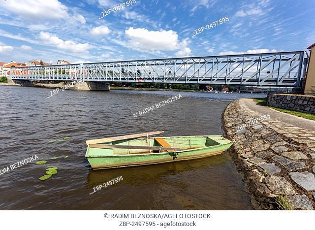 Iron Bridge over the Vltava river, Tyn Nad Vltavou, South Bohemia, Czech Republic