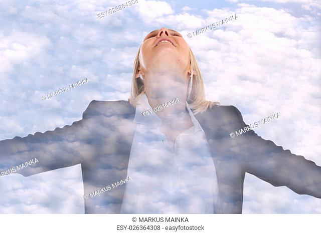 freedom concept woman business woman business manager to be free sky clouds double exposure office