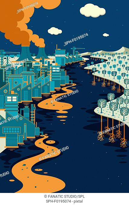 Illustration of chemical waste and pollution