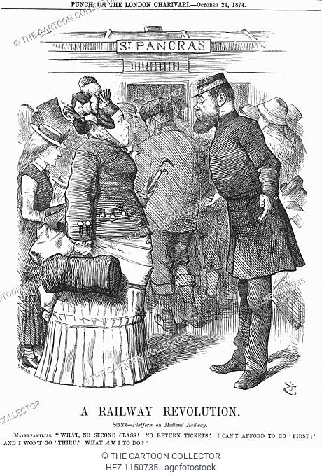 'A Railway Revolution', 1874. A large lady seeks advice from the Railway guard at St Pancras. From Punch, or the London Charivari, October 10, 1874