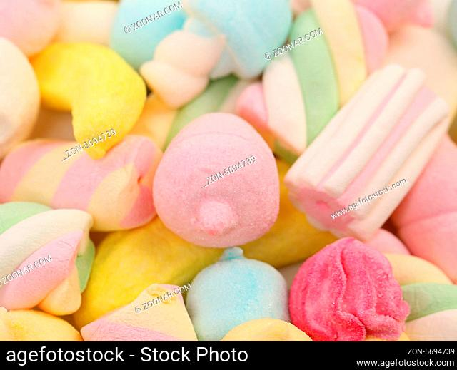 Different colorful marshmallow. Close up. Whole background