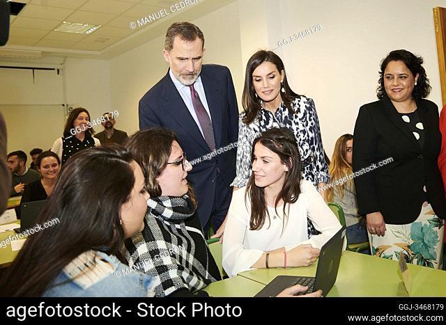 """King Felipe VI of Spain, Queen Letizia of Spain visit Educational Center """"Escuelas Profesionales Sagrada Familia-Fundación Peñaflor"""" winner of the 'School of..."""