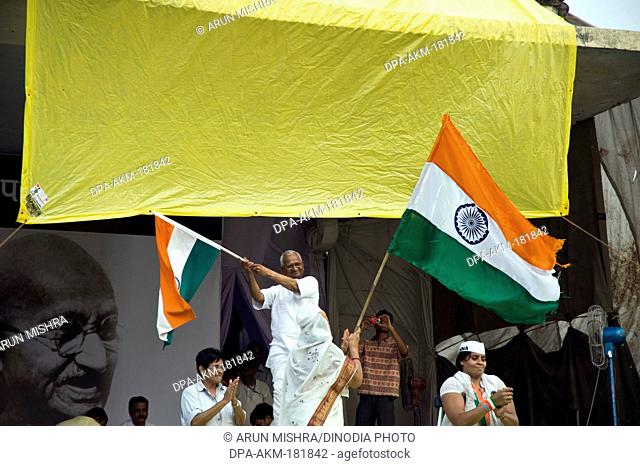 Anna Hazare on the stage of ramlila maidan new delhi India Asia