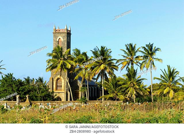 St Philomene Old Stone Church built in 1854, Poudre D'or, Mauritius, Indian Ocean, Africa