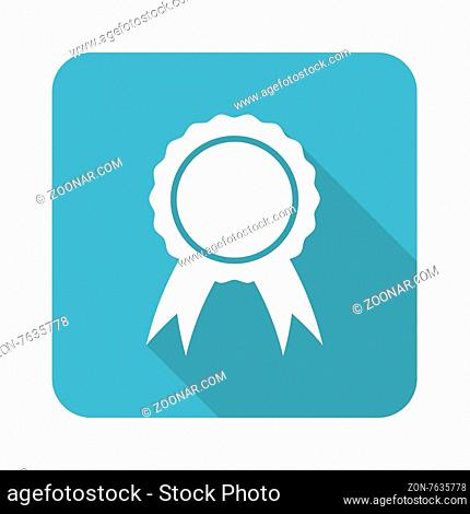 Square icon with image of certificate seal, isolated on white