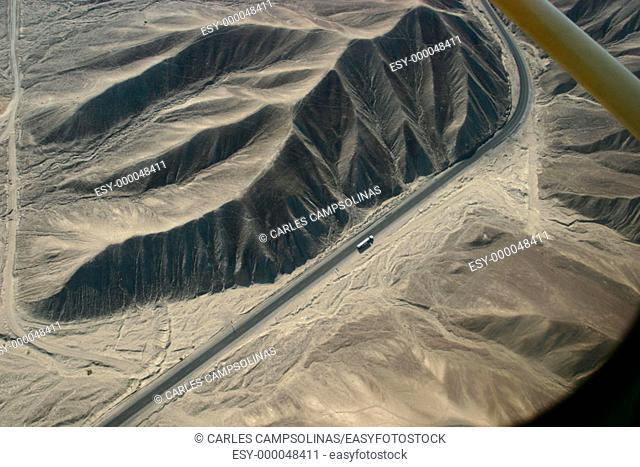 Aerial view of road in the desert. Nasca, Peru