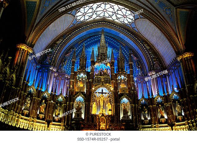 Interior of the Notre Dame Cathedral, Montreal, Quebec, Canada