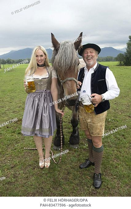 ATTENTION BLOCKING PERIOD: 8 SEPTEMBER 2016, 12 AM / dpa exclusive:The Wiesn playmate Kathie Kern and horse breeder Ludwig 'Luggi' Kaeser posing with brewery...