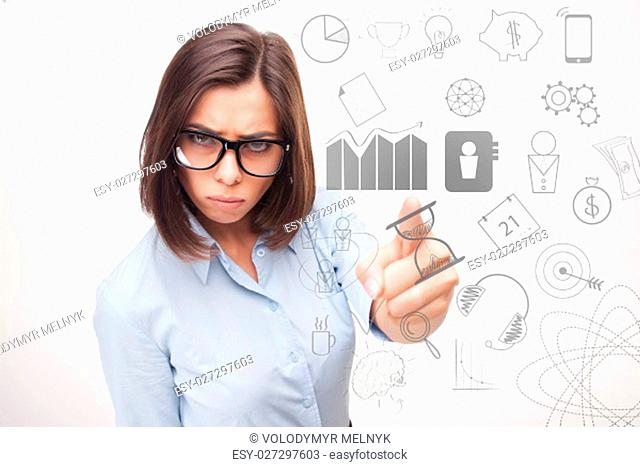 The conceptual image of business woman thinking about many ideas