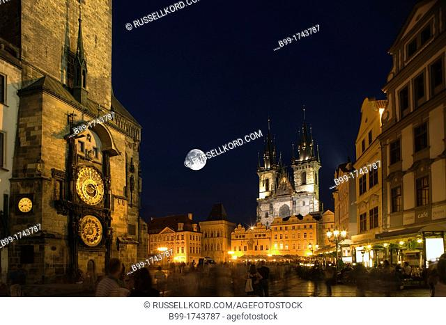 Astronomical Clock Tyn Church Old Town Square Staromestske Namesti Prague Czech Republic