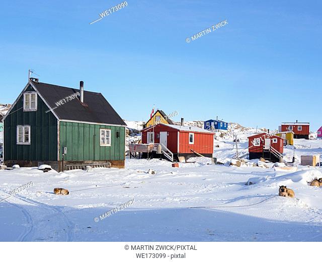 The fishing village Saatut during winter in the Uummannaq fjordsystem north of the polar circle. America, North America, Greenland, Denmark