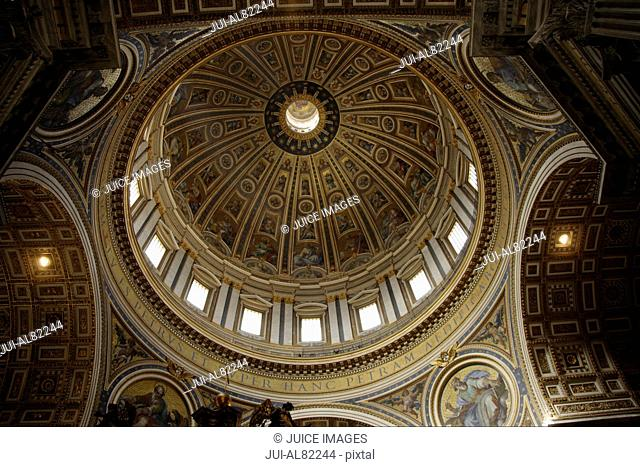 Interior view of dome in Saint Peteris Basilica, Rome, Italy
