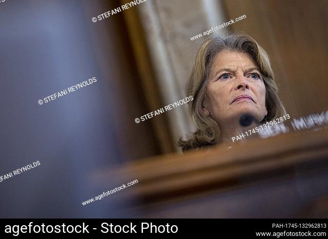 United States Senator Lisa Murkowski (Republican of Alaska) listens during the United States Senate Committee on Energy and Natural Resources hearing on...