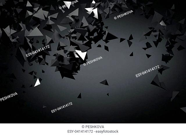 Abstract black polygonal background. Art, creativity concept. 3D Rendering