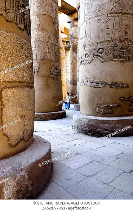 Colonnade of the Great Hypostyle Hall in the Precinct of Amun-Ra - Karnak Temple Complex - Luxor, Upper Egypt