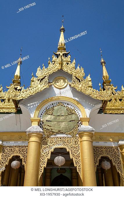 Ornate roof of a prayer hall at Shwedagon Pagoda, Yangon, (Rangoon), Myanmar, (Burma)