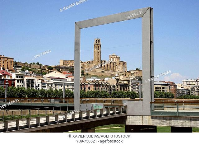 Seu Vella (old cathedral) framed by new design element in Plaça Blas Infante by Segre river, Lleida. Segria, Catalonia, Spain
