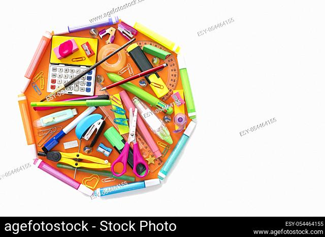 School supplies octagon shape back to school concept isolated on white