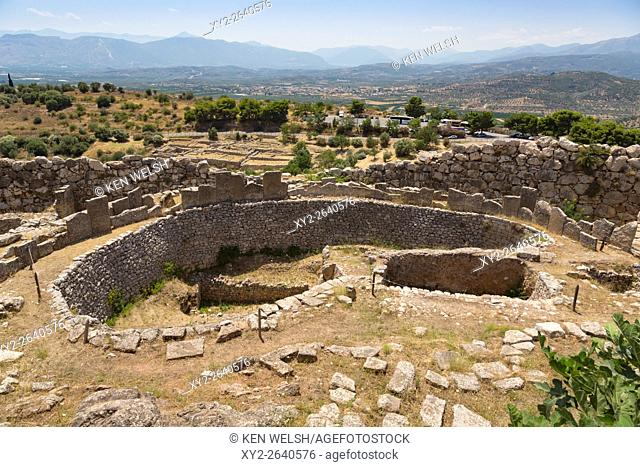 Mycenae, Argolis, Peloponnese, Greece. Grave Circle A, dating from the 16th century BC, within the walls of the city citadel