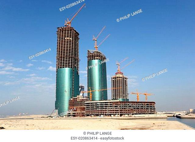 Skyscraper construction at the Bahrain Financial Harbour. Manama, Middle East