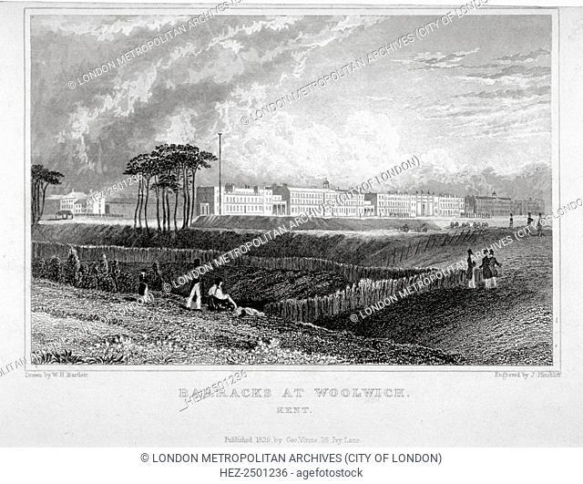 Royal Artillery Barracks, Woolwich, Kent, 1829. The barracks were built between 1776 and 1802