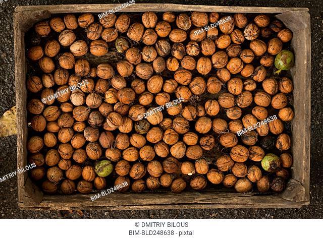 Walnuts in wooden box