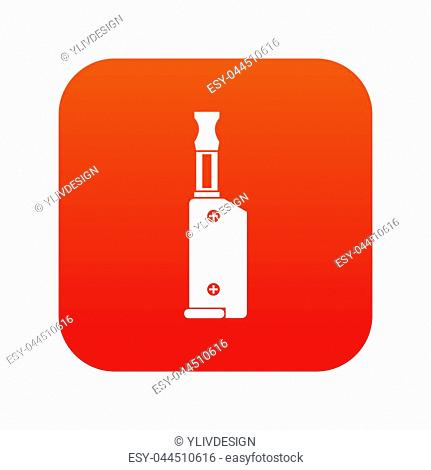 Electronic cigarette with mouthpiece icon digital red for any design isolated on white illustration
