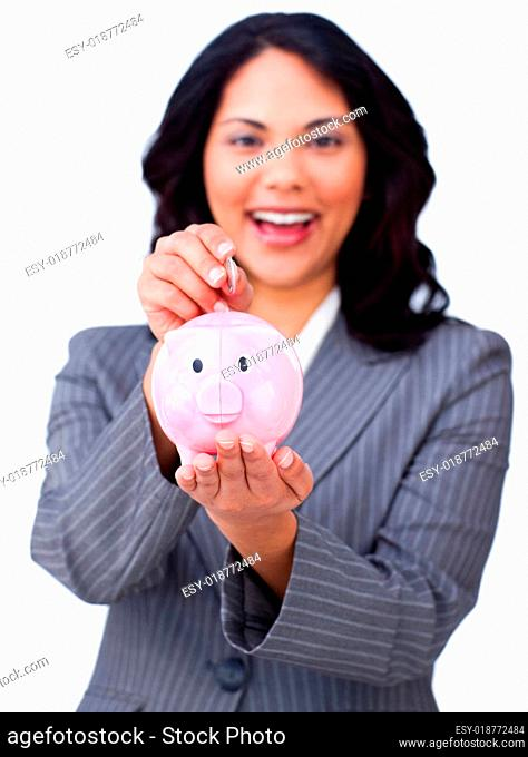 Young businesswoman smiling at global business