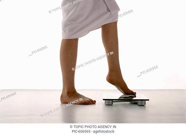 Woman Weighing Herself, Korean
