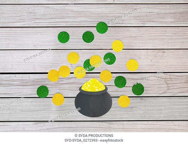 pot of gold and coins for st patricks day
