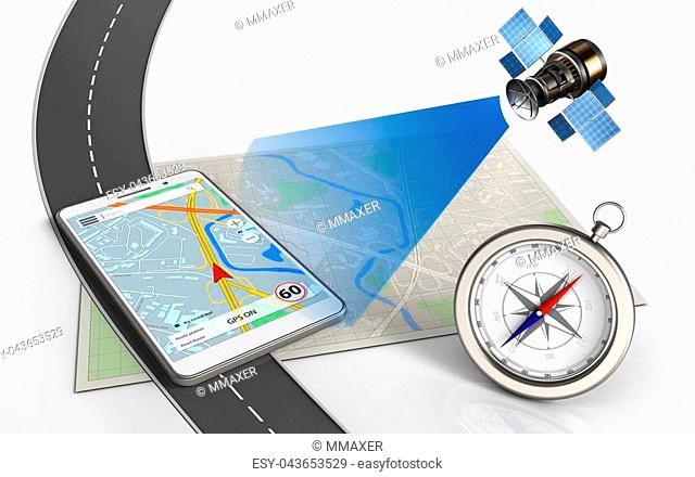 3d illustration of bright map with mobile navigation and compass