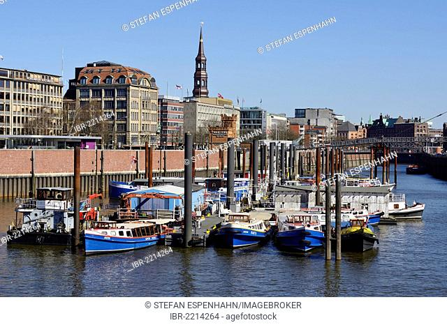 Ships in the inner harbor, tower of St. Catherine's Church, Hamburg, Germany, Europe
