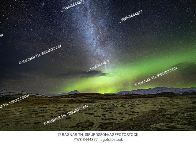 Aurora Borealis and the Milky way, Heinabergsjokull Glacier, Vatnajokull National Park, Iceland