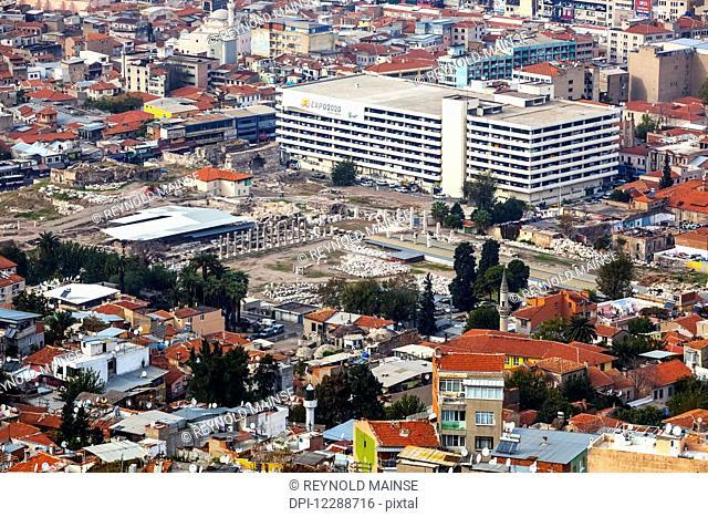 Cityscape of Izmir with the ruins of Smyrna; Izmir, Turkey