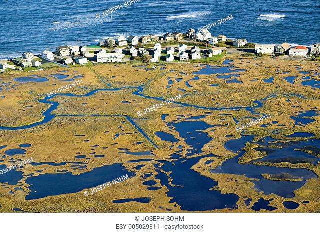 Aerial view of marsh and Rachel Carson Wildlife Sanctuary in Wells, south of Portland, Maine