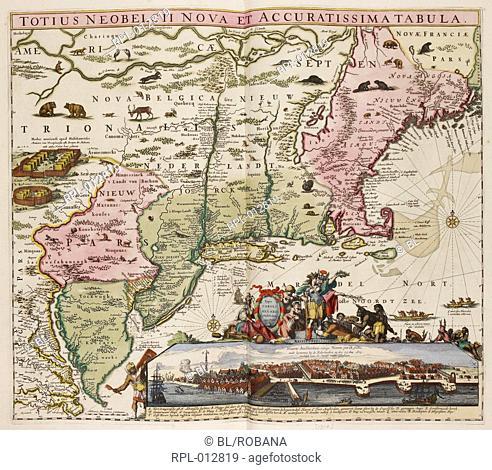 Map New England View of New York. Image taken from Totius Neobelgii Nova et Accuratissima Tabula. Typis Caroli Allard, etc