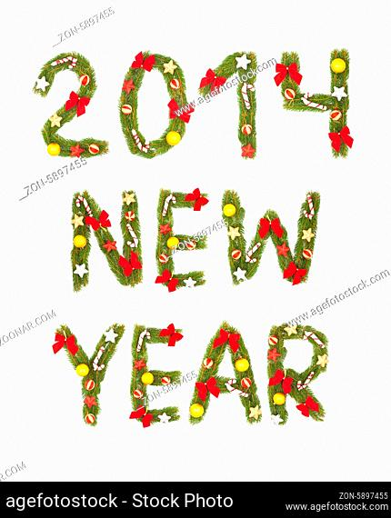 New Year's Eve greeting. Isolated on white background