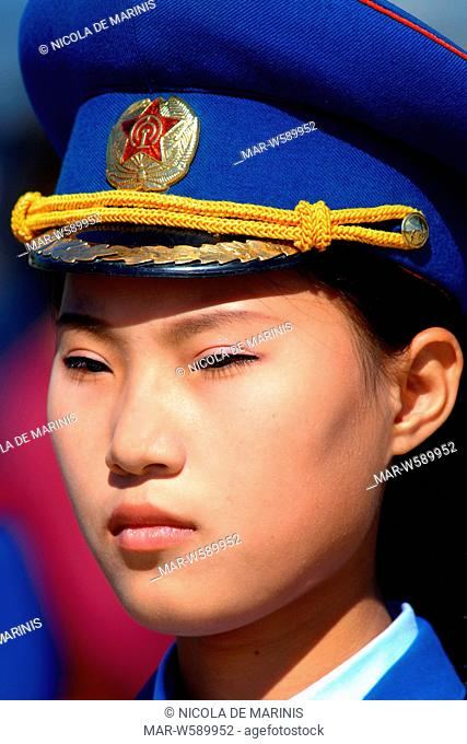 women's national military band at the ceremony for the reopening of the railway line Kazan (extern Russian Far East) North Korea in the port city of Rajn