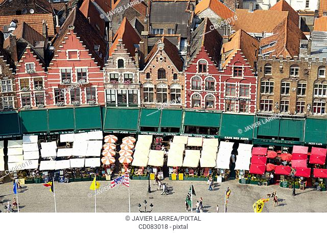 The Markt (Market Place), view from the Belfry. Brugge. Flanders, Belgium