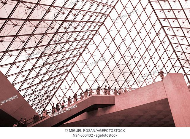 View from inside of the Louvre pyramid. Paris, France
