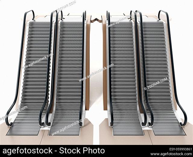 Escalator isolated on white background. 3D illustration