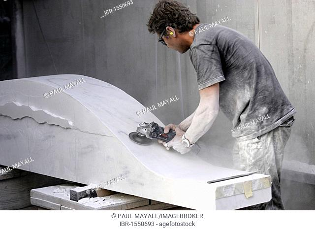 Marble sculpturer at work, Pietrasanta, Tuscany, Italy, Europe