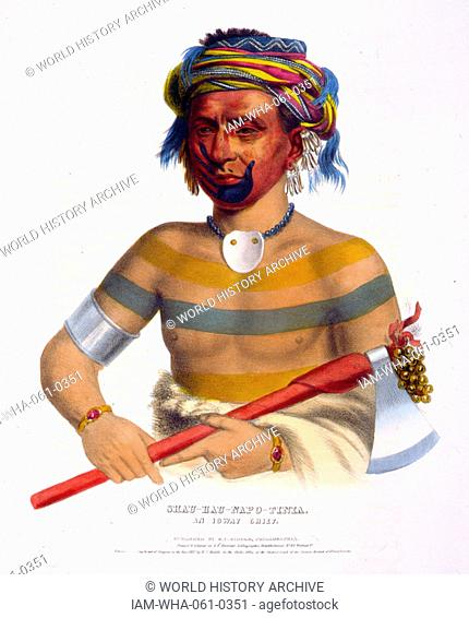 Shau-Hau-Napo-Tinia, an Ioway chief, holding a tomahawk. The Ioway (Iowa) are a Native American Siouan people who live either in Kansas and Nebraska or Oklahoma
